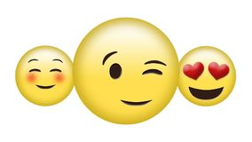 Different emoji. Digital animation of a blushing emoji, a winking emoji, and a face with heart eyes emoji stock illustration