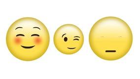 Different emoji. Digital animation of blushing emoji, winking emoji, and face with rolling eyes emoji vector illustration