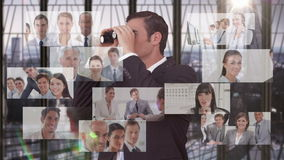 Businessman searching for new employees stock video