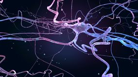 Deep blue space with neurons, 3D animation