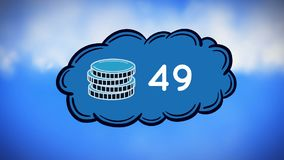Coin icon and numbers. Digital animation of coin icon beside increasing numbers in a cloud and sky with clouds in the background stock illustration