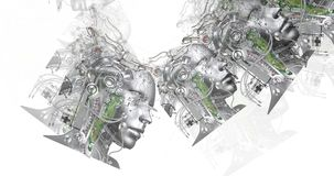 Digital animation of cyborg heads stock footage