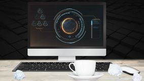 Digital-Animation der Schnittstelle auf Bildschirm auf Schreibtisch stock footage