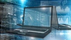 Digital-Animation des Laptops Schirm der digitalen Schnittstelle zeigend stock footage