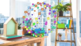 Application icons. Digital animation of different application icons arranged spherically while connected by asymmetrical lines rotating and background shows a a stock illustration