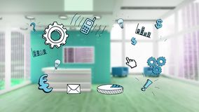Different icons and a room royalty free illustration