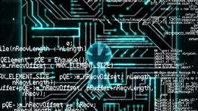 Program codes and digital circuit. Digital animation of a digital circuit zooming out of the screen to form a lock while program codes move in the screen stock footage