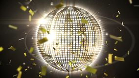 Disco ball and confetti. Digital animation of a disco ball with silver and gold squares glowing while gold confetti fall in the screen royalty free illustration