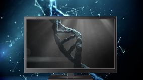 Digital animation of DNA model on the computer monitor display. DNA models on the blue background 4K stock video footage