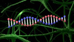 Digital animation of dna structure spinning against signals passing through neurons