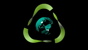 Digital animation of Earth, turns into Recycling logo