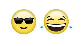 Different emoji. Digital animation of a face with sunglasses emoji and laughing and crying emoji vector illustration