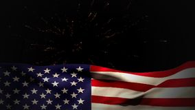 Digital animation of fireworks on the sky at night. Digital animation of fireworks on the skyline at night. American flag against the fireworks 4k