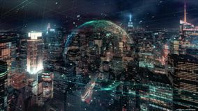 Digital animation of global business hologram.Holographic rendering Earth, against the background of skyscrapers vector illustration