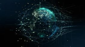 Digital animation of Global world hologram. Holographic rendering Earth. illustration of business processes and stock video footage