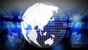 Globe turning against stock market data vector illustration