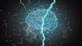 Digital brain and lightning royalty free illustration