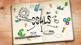 Digital animation of goals concept stock footage