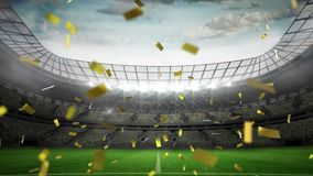 Falling confetti in a stadium. Digital animation of gold confetti falling in the screen with a background of a filled stadium stock illustration