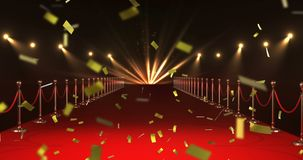 Red carpet and confetti 4k. Digital animation of gold confetti falling in the screen while background shows a red carpet with barriers and lights 4k vector illustration