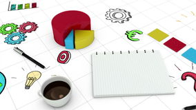 Digital animation of graph and notebook stock video