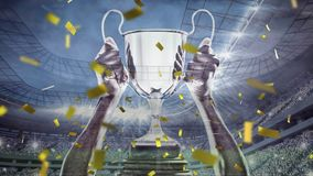 Trophy and confetti in a stadium. Digital animation of a hand holding a big trophy while gold confetti fall in the screen and background shows a filled stadium vector illustration