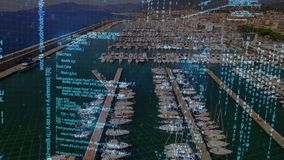 Program codes and a port. Digital animation of program codes moving in the screen with a background of port with yachts stock footage