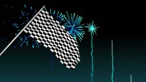 Racing flag with fireworks