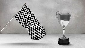 Racing flag with race trophy