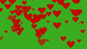 Digital animation of Red hearts floating against green screen and rise up. Alpha channel. Seamless loop,. Digital animation of Red hearts floating against green stock footage