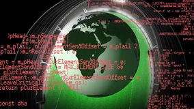Rotating globe in a stadium. Digital animation of a rotating globe entering a stadium with code running in the foreground stock video