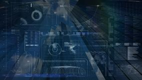 Digital screen analysing data against a skyscraper background