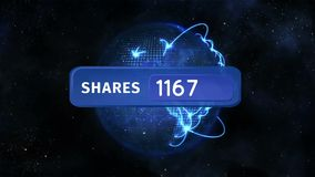 Share icon and globe. Digital animation of a share icon button with increasing numbers and background of the galaxy with a globe rotating while glowing lines vector illustration