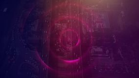 Sky view of city with huge communication way with dark purple filter