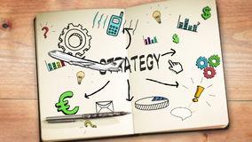 Digital animation of strategy concept. On wooden background stock footage