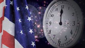 Digital animation of United States flag and wall clock. Fireworks in background 4k stock video