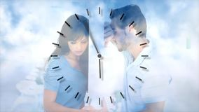 Digital animation of upset couple leaning on wall. Clock ticking and cloud moving in background 4k stock video footage