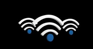 Wifi symbols 4k. Digital animation of a wifi symbol up and down in the screen against the black background. 4k vector illustration