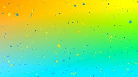 Yellow and blue confetti falling. Digital animation yellow and blue confetti falling against a colorful gradient background royalty free illustration