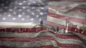 Digital animering av amerikanska flaggan som svänger mot cityscape lager videofilmer