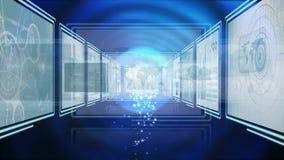 Digital animering av att exponera blått ljus som flyttar sig till och med teknologikorridor med skärmar