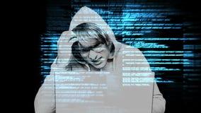 Digital animering av den förvirrade en hacker arkivfilmer