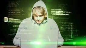 Digital animering av den f?rvirrade en hacker lager videofilmer