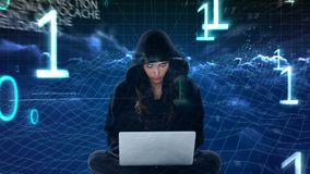 Digital animering av den med huva en hacker som använder bärbara datorn stock video