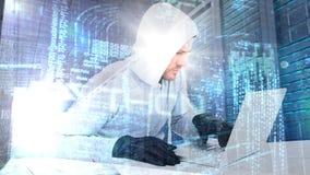 Digital animering av den med huva en hacker som använder bärbara datorn i datorhall stock video