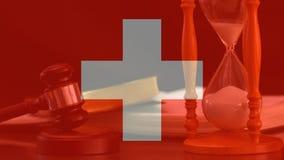 Digital animering av den Schweiz flaggan stock video