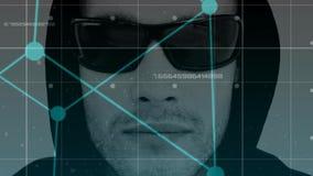 Digital animering av en hacker i solglasögon arkivfilmer