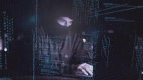 Digital animering av en hacker som använder bärbara datorn lager videofilmer