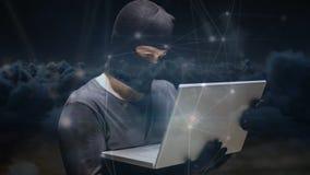 Digital animering av en hacker som använder bärbara datorn mot mörk bakgrund stock video