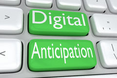 Digital Anticipation concept. 3D illustration of computer keyboard with the print Digital Anticipation on two adjacent green buttons stock illustration